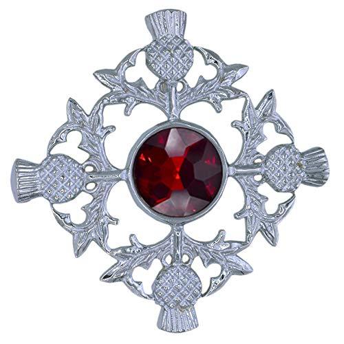 Highland Kilt Schottische Distel Fly Plaid Brosche Roter Stein Silber Verzierung 8.5cm Anstecknadel & Broschen Keltischer Knoten