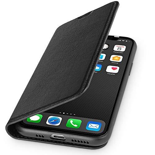 WIIUKA Echt Ledertasche - TRAVEL Nature - Hülle für Apple iPhone 11 - ITALIENISCHES Leder - Schwarz, mit Kartenfach, extra Dünn, Tasche, Premium Leder kompatibel mit iPhone 11