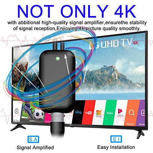 Indoor TV Antenna Amplified Channels - Upgraded Long Range Digital HDTV Antenna High Reception Digital TV Antenna for All Older TVs Fire TV Stick 4K/Vhf/Uhf/1080P Free Channels 13ft Coax
