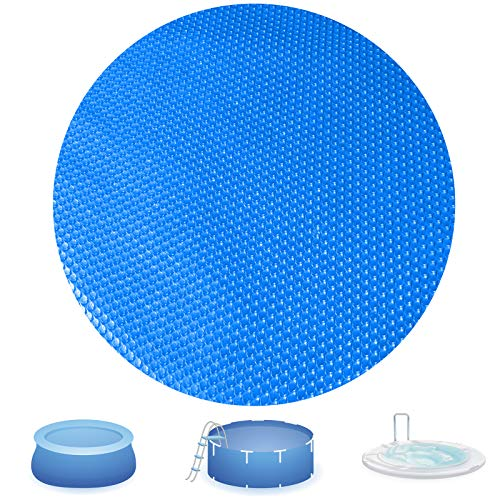 Evoio Solar Pool Covers for 6 8 10 12 15ft Diameter Round Easy Set and Frame Pools Round Inflatable Pool, In-Ground and Above-Ground Pool Solar Covers, Upgraded Solar Pool Blanket Covers (8 Foot)