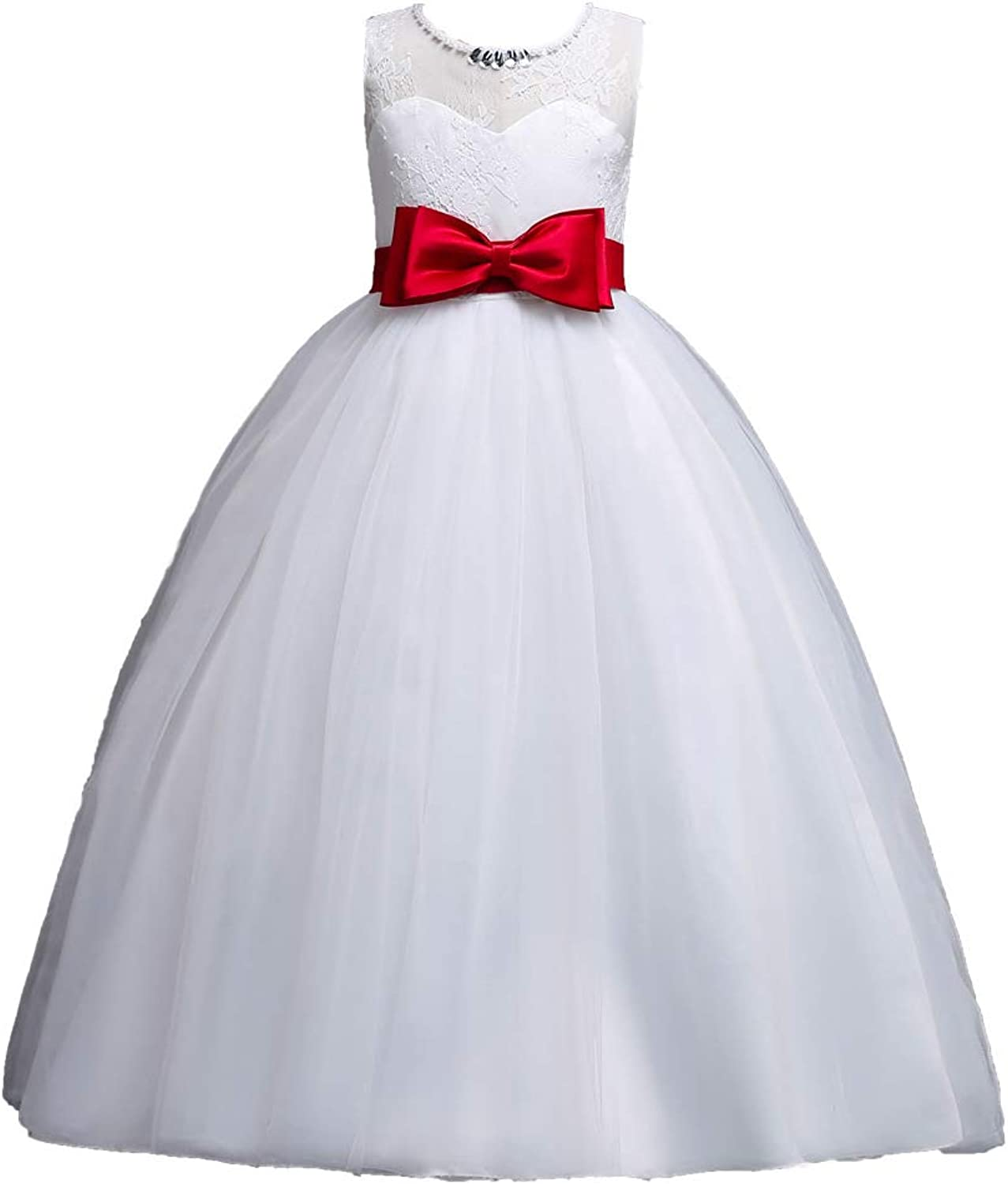 GIFT ZHIZHUXIA Wedding Bridesmaid Birthday Evening Party Girls Sleeveless White Dress Kids Mesh Princess Puffy Dresses With Bowknot Christmas Party Dress props ( color   RED , Size   140CM )