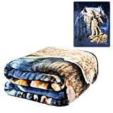 K2 3D-LUSN-0BOA Harmony of Wolves Korean Mink Blanket, Queen, Multicolor