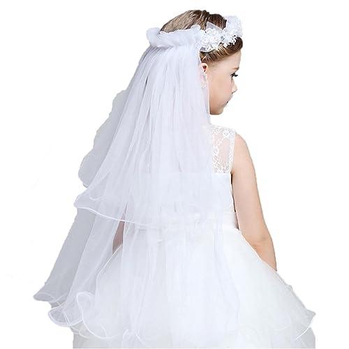 V01 Girl White 1st Holy Communion Headdress 2T Flowers Bun Halo Veil With COMB