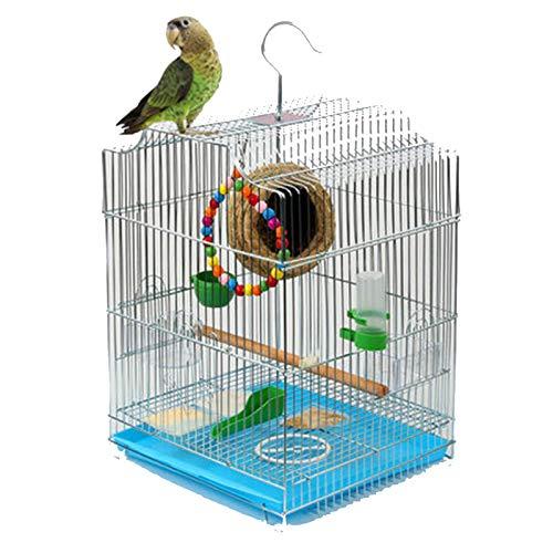 TWW Überzug Metall Vogelkäfig Papagei Vogelkäfig Großer Star Kardinal Käfig Schmiedeeisen Edelstahl Farbe Vogelkäfig Haushalt 33 * 30 * 44Cm,B