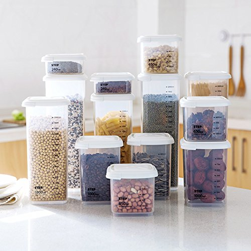 JOYACE Clear Airtight Food Storage Containers with Scale 6 pack,BPA Free Plastic Cereal Dispenser Set For Spaghetti,Sugar,Flour and Baking Supplies Canisters,Thickened & Stackable