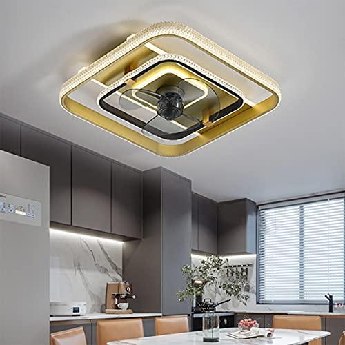 OUJIE Lámpara Ventilador De Techo con Iluminación, 36W LED con Control Remoto,Velocidad Y Atenuación del Viento Ajustables, Luz De Ventilador De Techo Ultra Silenciosa Ahorro Luz,Oro,Square