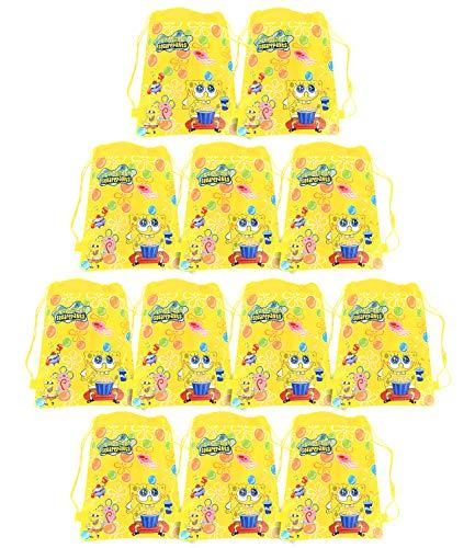 Qemsele Borse Festa per Bambini Borse Sacca 12 PCS, Zaino con Coulisse Sacchettini del per Bambini e Adulti Festa di Compleanno Bambini bomboniare Borsa Sacchetto Festa (W10 * H12, Spongebob)