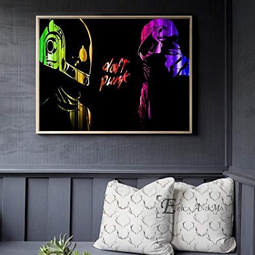 DFRES Daft Punk Casco Máscara Pinturas en Lienzo Arte Abstracto de la Pared Música Posterprint Cuadros de la Pared para la Sala de Estar Moderna Decoración del hogar 40x60cm Sin Marco