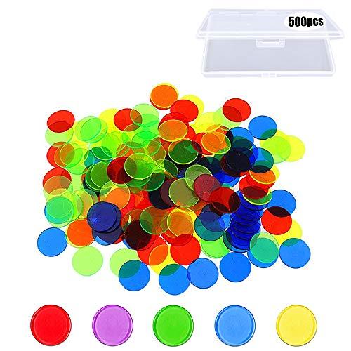 500 piezas Fichas de bingo, fichas de plástico que cuentan fichas de colores, marcadores transparentes de juegos matemáticos, contadores y juguetes matemáticos con una caja de almacenamiento (19 mm)