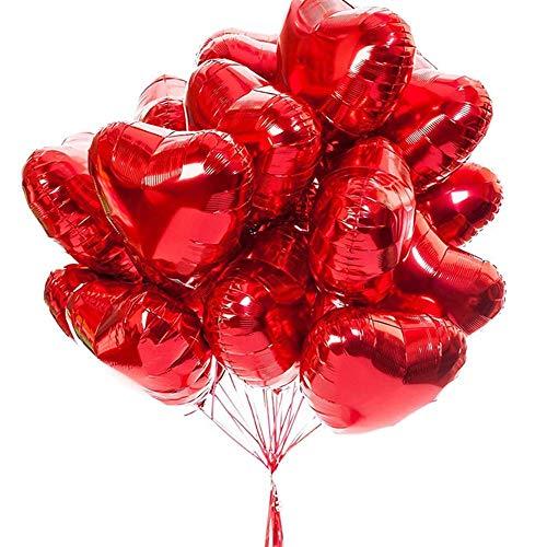 20 globos de fiesta en forma de corazón de hoja roja para bodas románticas, aniversarios, fiestas de cumpleaños, día de San Valentín, baby shower, 45,7 cm, color rojo
