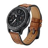 SUNDAREE Compatible con Correa Galaxy Watch 46MM/Gear s3 Frontier/Classic,22mm Piel Genuina Reemplazo Banda Pulseras de Repuesto Correa de Smartwatch para Samsung Galaxy Watch 46/Gear S3(Marron-D)