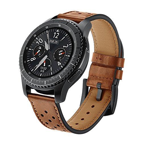 SUNDAREE Compatibile con Cinturino Galaxy Watch 46mm/Gear S3,Cinturini di Ricambio Pelle Band Orologio Sostituzione Cinghia di Polso per Samsung Galaxy Watch 46/Gear S3 Classic/Frontier(S3 Brown ZW)