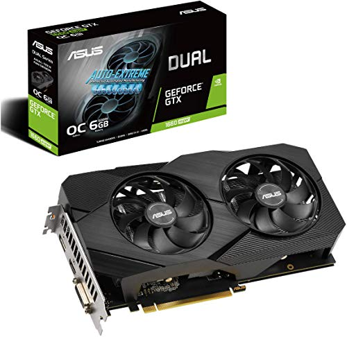 Asus GeForce GTX 1660 Super Overclocked 6GB Dual-Fan Evo Edition VR Ready HDMI DisplayPort DVI Grafikkarte (DUAL-GTX1660S-O6G-EVO)