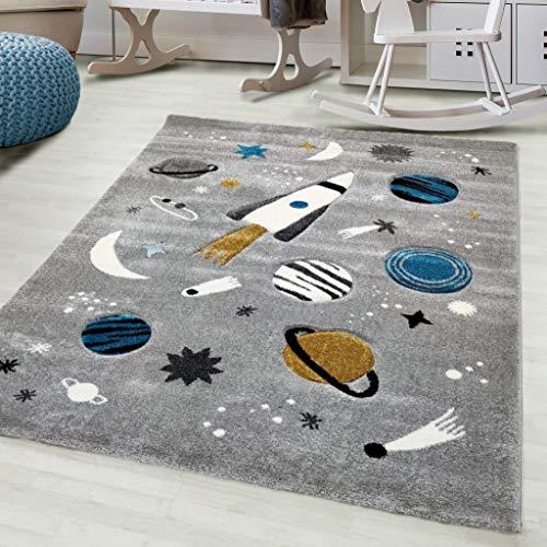 Flycarpets Kids Universum - Alfombra (150 x 80 cm), color gris