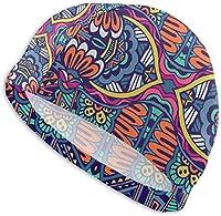 水泳帽 女性/男性用スイムキャップ、防水ヘアスイムキャップスペシャルプリント大人快適フィットスイムキャップエステティブカラフルグランジエスニックトライバルパターン