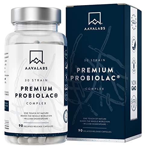Premium Probiótico [ 120 Mil Millones de UFC ] 30x Cepas Bacterianas incl. Lactobacillus Acidophilus & Bifidobacterium por Dosis - 90 Cápsulas de Liberación Retardada (DRcaps) - Vegano