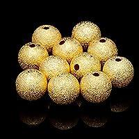 20/50/100個の4/5/6/8 / 10mm銀メッキおよび金メッキの丸い銅スペーサービーズつや消しビーズブレスレットネックレス作成用-ゴールド_5mm100個