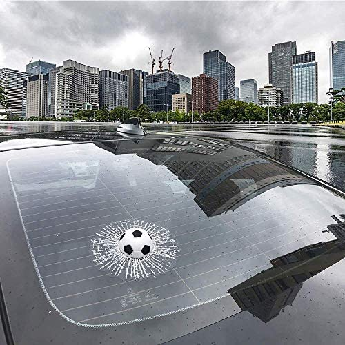Prank Soccer Car Stickers 3D Self Adhesive Broken Glass Window Decal Football Car Magnet Sticker product image