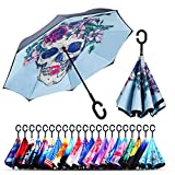 Owen Kyne Windproof Double Layer Folding Inverted Umbrella, Self Stand Upside-Down Rain Protection Car Reverse Umbrellas with C-Shaped Handle (Skeleton Flower)