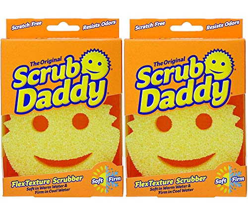The Original Scrub Daddy - FlexTexture Sponge, Soft in Warm Water, Firm in Cold, Deep Cleaning, Dishwasher Safe, Multi-use, Scratch Free, Odor Resistant, Functional, Ergonomic, 2ct
