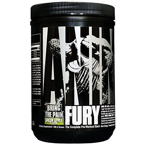 Animal Fury Pre Workout Powder Supplement Green Apple - 30 Servings