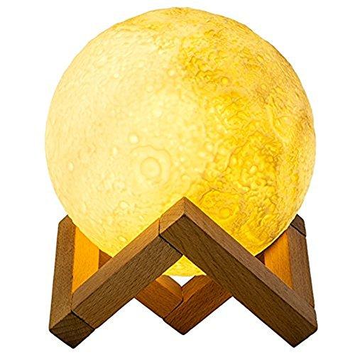 Lámpara de luz LED de luna 3D recargable de la mesita de noche de la lámpara de control táctil de la luz nocturna con soporte de madera cable USB para la decoración del dormitorio del hogar