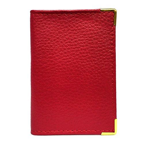 LOLUNA® Porte-carte simple 1 à 2 carte compact en cuir existe en plusieurs couleur pour homme et femme - Rouge