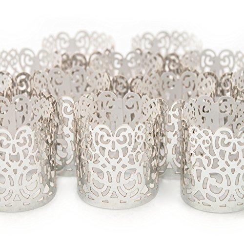 Frux Home and Yard Led Papier Votiv Kerzenständer Teelichthalter 48 Silber Farbige Dekorative Kerzenhalter/Halter für Flammenlose Teelichter und Votivkerzen