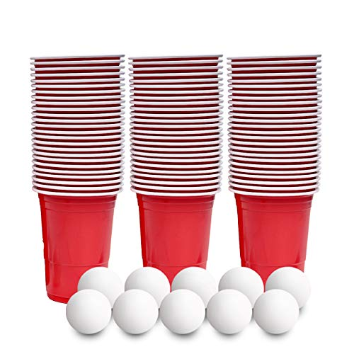 180 Bicchieri per Shot in Plastica Rigida, Piccoli Bicchieri di Plastica Rossa, 60ml - con 10 Palline di Birra Pong - Monouso, Resistente e Riutilizza