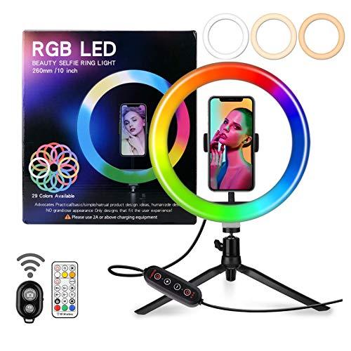 Aro de Luz Trípode LED de 10', Jsdoin 29 RGB Anillo de Luz con Soporte de Móvil y Control Remoto Bluetooth, para Movil TIK Tok, Maquillaje, Selfie, Streaming, Youtube