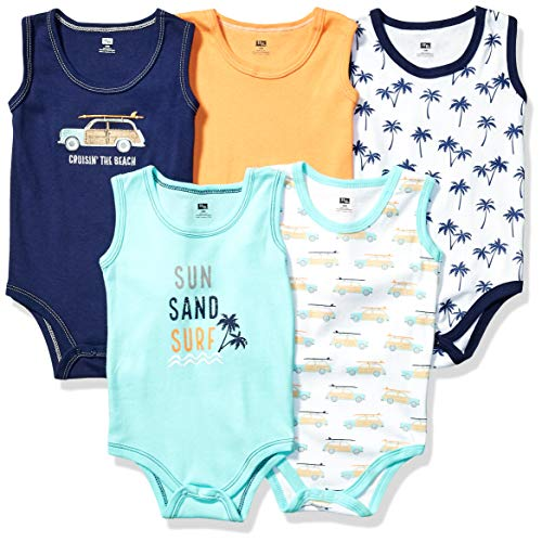 Hudson Baby baby girls Cotton Sleeveless Bodysuits Bodysuit, Surf Car, 3-6 Months US