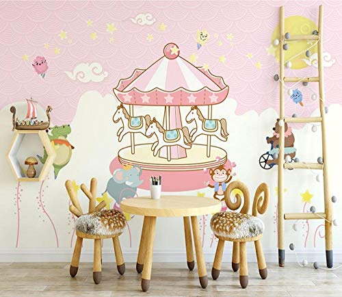 Fototapete 3d Effekt Karussell Des Rosa Karikaturparadieses Tapete 3D Vliestapete Kinderzimmer Schlafzimmer Wohnzimmer Tapeten Wanddeko Wandbilder 400cmx280cm
