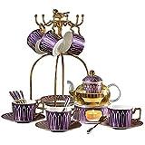 XYSQWZ Piatto Piano in Ceramica Set da tè Riutilizzabile Tazza da tè Tazza da caffè 4 Set da 6 Pezzi Set da tè in Ceramica Set Portavaso in Vetro Riscaldante Tazza Singola 160ml Viola Wi