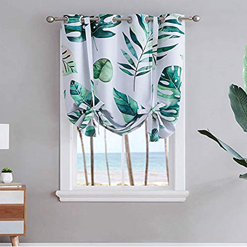 Vandesun Green Plant Tie-up Curtain with Grommet Top for Small Window, Kitchen or Bedroom (46' W x 63' L, Grommet C)