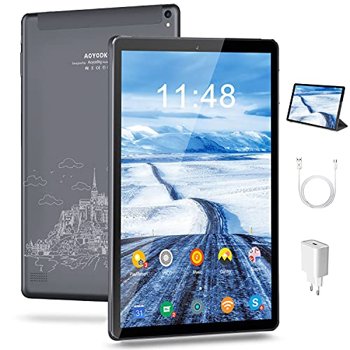 Tablet 10.1 Pollici Android 10, 5G WIFI, 4GB + 64GB 128GB Espandibili, Certificato da Google GMS Tablet Pc,1280* 800IPS,6000mAh Batteria|WiFi|Bluetooth|FM|Type-C (Grigio)