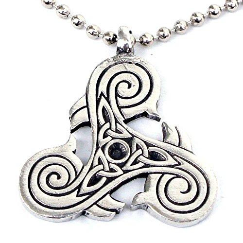 Viking Druid Norse Jewelry Celtic Triple Triskele Triquetra Trikelion Pewter Unisex Men Women Pendant Necklace Good Luck Charm Protection Amulet Safe Travel Talisman Wealth Medallion Silver Ball Chain