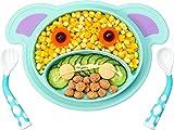 Assiette Bebe Silicone avec Couvercle Napperon en Silicone Antidérapant Assiette à Ventouse pour Bébé Assiette avec compartiments pour la Plupart des Chaises Hautes, Bleu Ciel