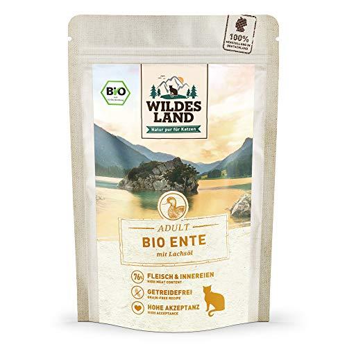 Wildes Land | Nassfutter für Katzen | Nr. 4 Ente PUR | Bio | 12 x 85 g | Aus kontrolliertem biologischen Anbau | Getreidefrei | Extra viel Fleisch