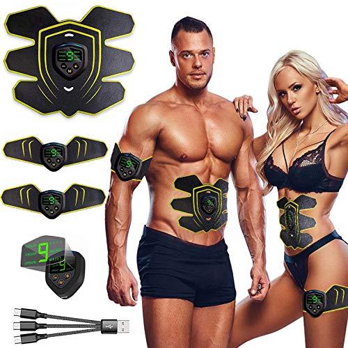 Nitoer EMS Muskelstimulator bauchtrainer ABS Trainingsgerät Professionelle USB Elektrostimulation Elektrisch Bauchmuskeltrainer Fitnessgürtel für Damen Herren