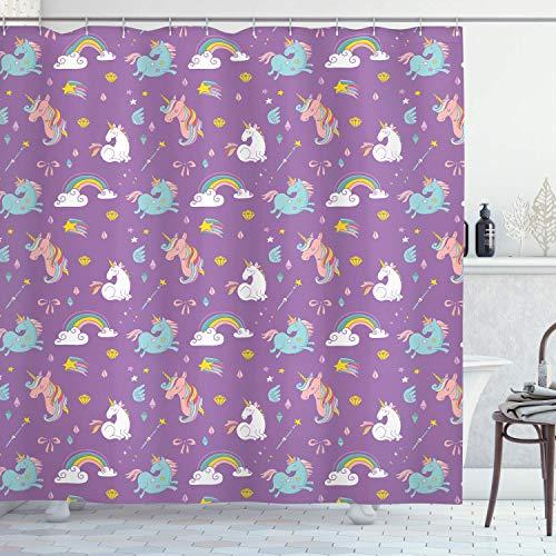 Judascepeda Magic Shower Curtain, Unicorn and Rainbow Diamond Wand Pattern Nursery Baby Girl Creature Print, Cloth Fabric Bathroom Decor Set with, Violet with 12 plastic hooks 180x210cm