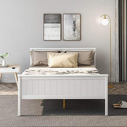 Carsparadisezone Double Bed Frame Platform for Children Adult with Headboard and Footboard Solid Pine Wooden Minimalist and Elegant Design Bed Suit for 140x190cm Mattress, White【UK STOCK】