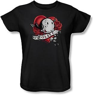 Popeye - - Olive Tatuaje de la Mujer T-Shirt En Negro