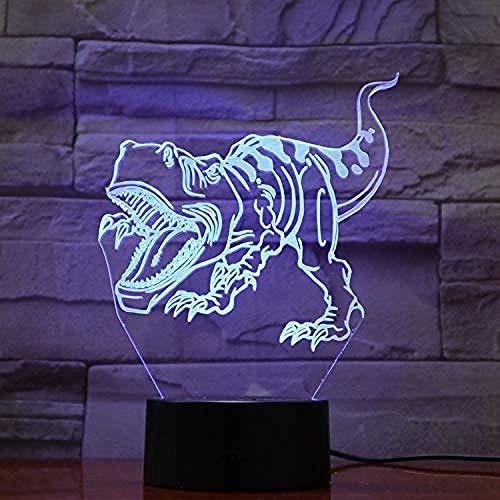 ADIS Tyrannosaurus Rex in Einer wunderbaren bunten 3D-Lichtdekoration mit LED-Nachtlicht für Schlafzimmer mit ferngesteuertem Berührungssensor