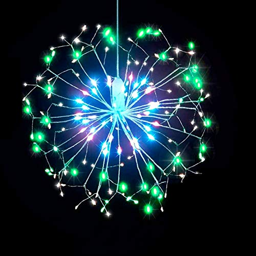 OUPPENG 120 LED Outdoor IP65 Hanging Starburst String Light Firework Copper Lights Xmas String Fairy Christmas Lights Remote Control (Emitting Color : Changeable)