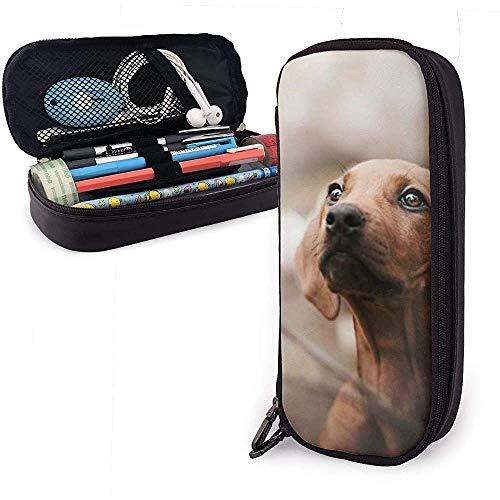 De Skinny Dog PU lederen tas opbergtassen draagbare student pennenbak office briefpapier tas multifunctionele tas