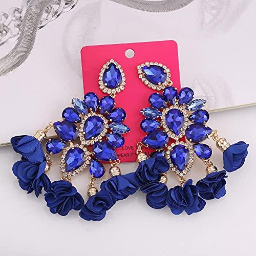 XCWXM Cristales de Gota de Color, Pendientes Colgantes, Pendientes Colgantes de Encanto para Damas, joyas-E1372 Zafiro