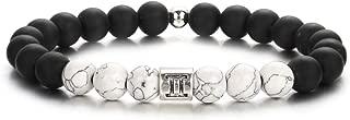 12 Constellations Anxiety Bracelet for Women Friendship Couple Distance Men Bracelet Bangle White Black Yin Yang Lucky Blessing Beads Bracelet Wristband for Girls Jewelry