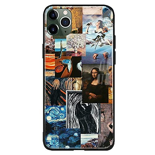 Art Aesthetic Famous Painting Collage Compatible con iPhone Phone Case Cover Shell (Vidrio Templado Brillante), iPhone 11 Pro)