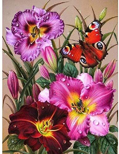 PPMP 5D DIY Diamantmalerei Blumenvase Kreuzstich-Kit Volldiamant Stickerei Mosaik Rose Künstler Home Decoration Gemälde A7 60x80cm