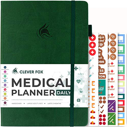 Clever Fox Medical Planner Daily – Medical Notebook, Health Diary, Wellness Journal & Logbook to Track Health – Self-Care Medical Journal – 3 Months, Undated, 7″ x 10.5″, Hardcover (Forest Green)